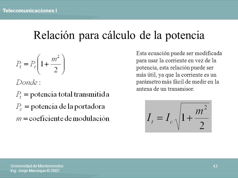 Relación para cálculo de la potencia