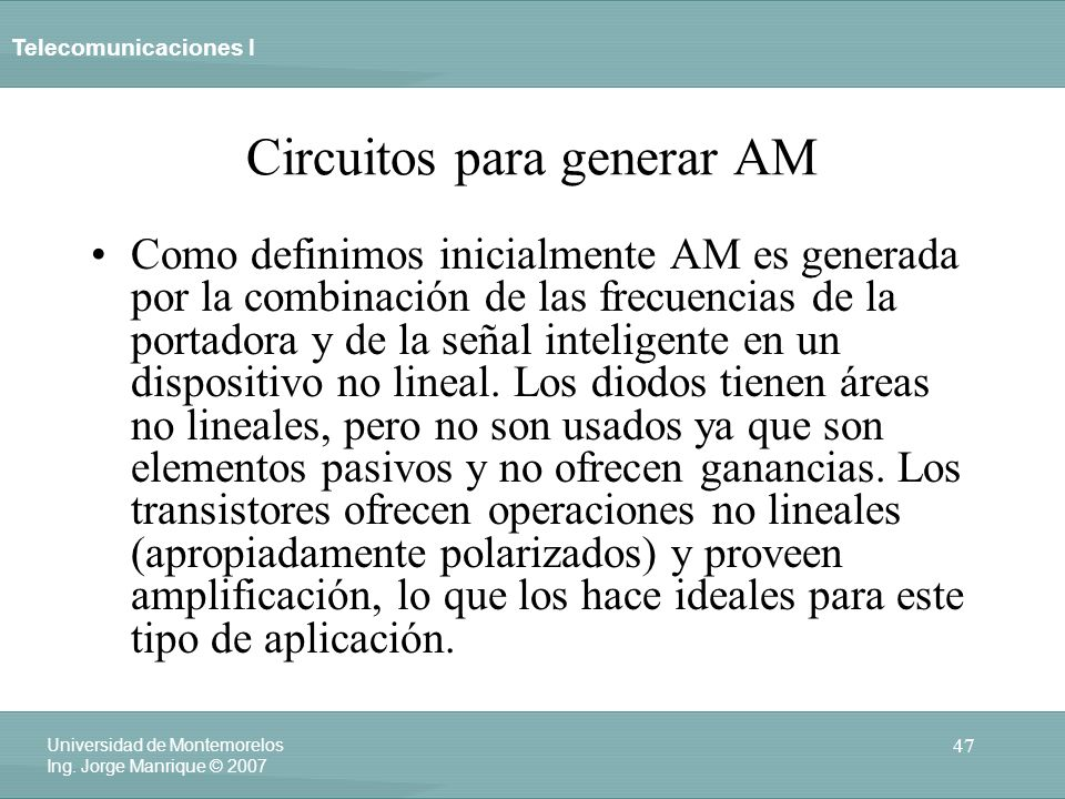 Circuitos para generar AM