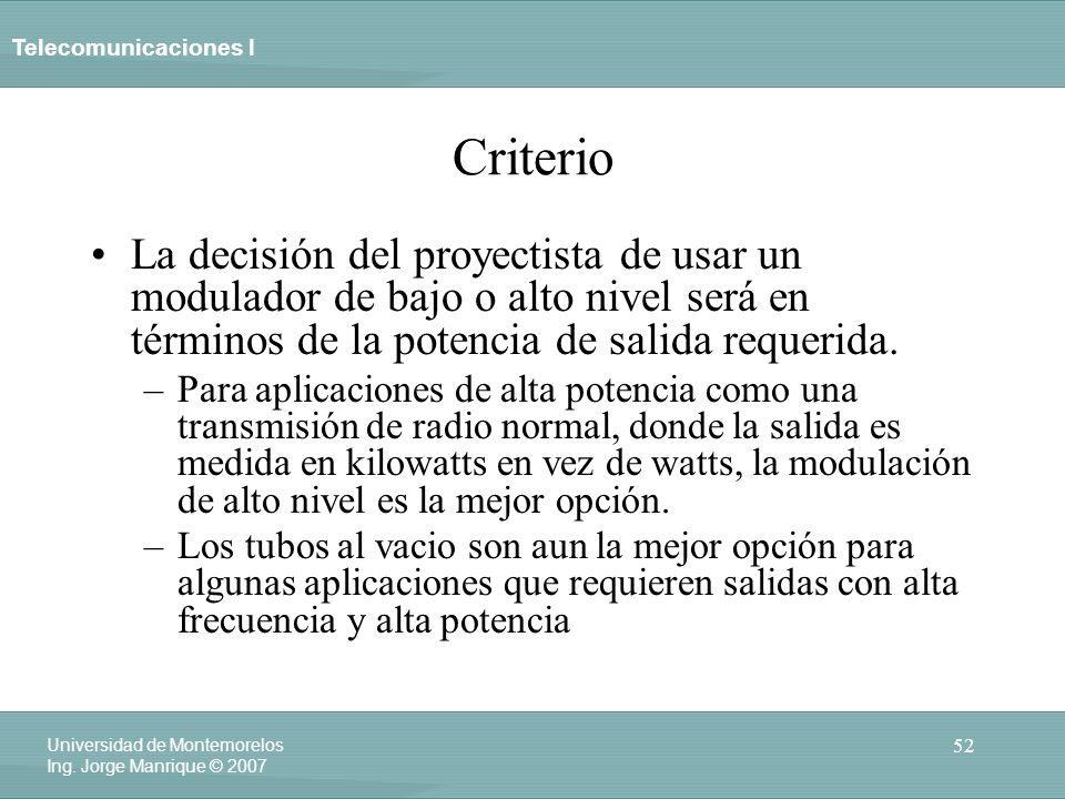 CriterioLa decisión del proyectista de usar un modulador de bajo o alto nivel será en términos de la potencia de salida requerida.