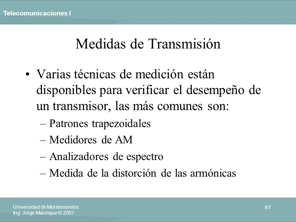 Medidas de Transmisión