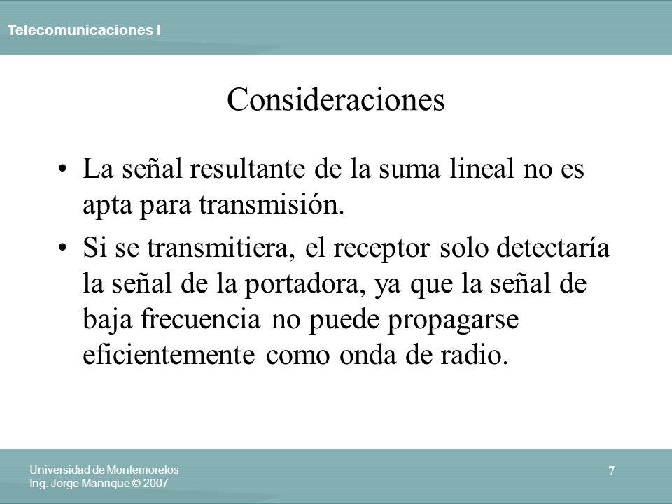 Consideraciones La señal resultante de la suma lineal no es apta para transmisión.