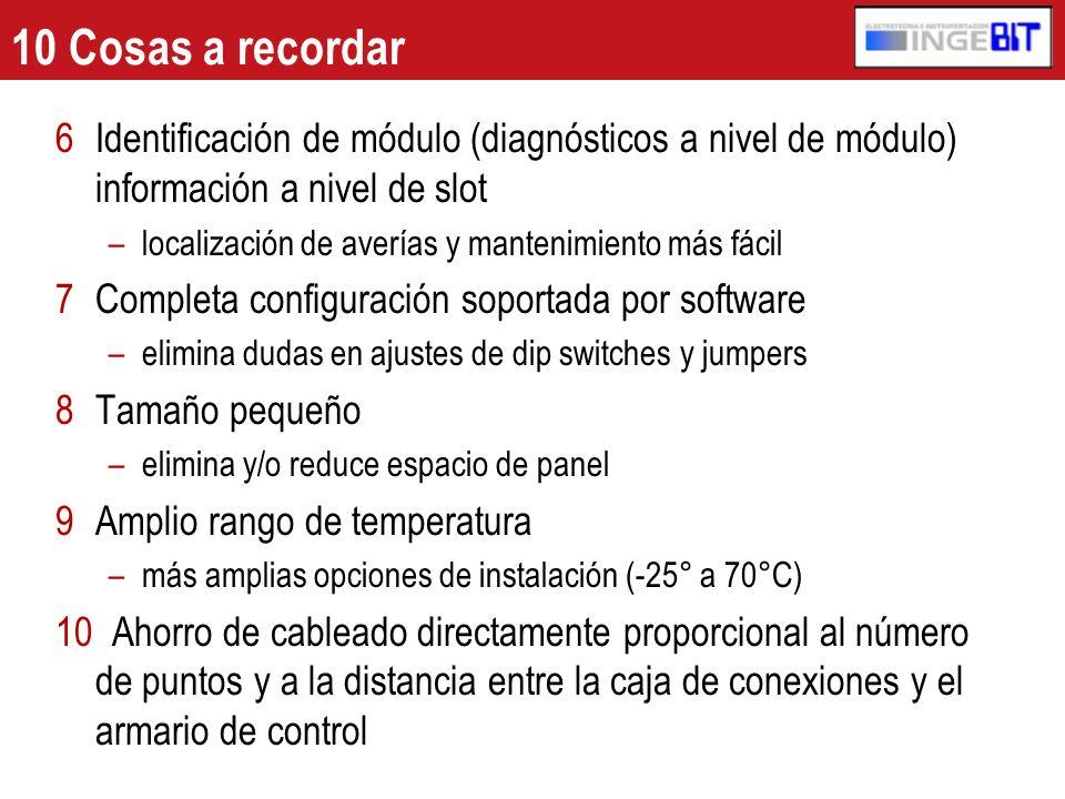 10 Cosas a recordar Identificación de módulo (diagnósticos a nivel de módulo) información a nivel de slot.