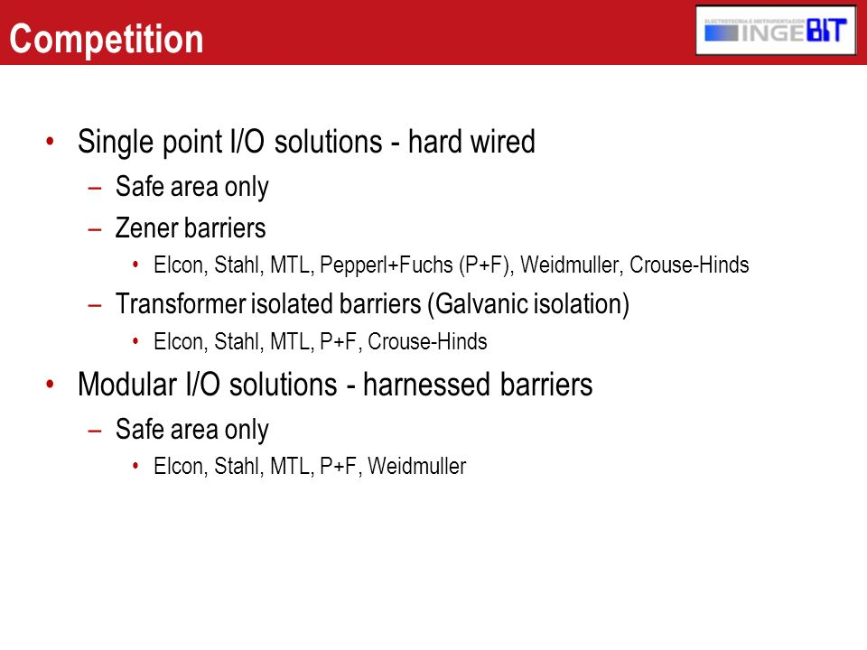 Competition Single point I/O solutions - hard wired