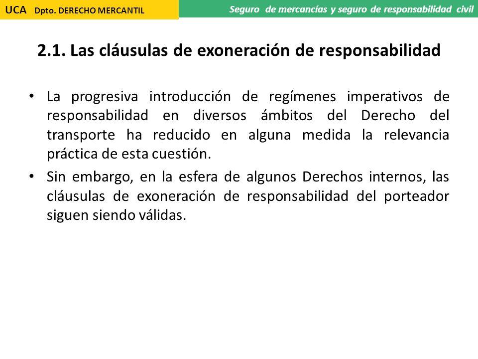 2.1. Las cláusulas de exoneración de responsabilidad