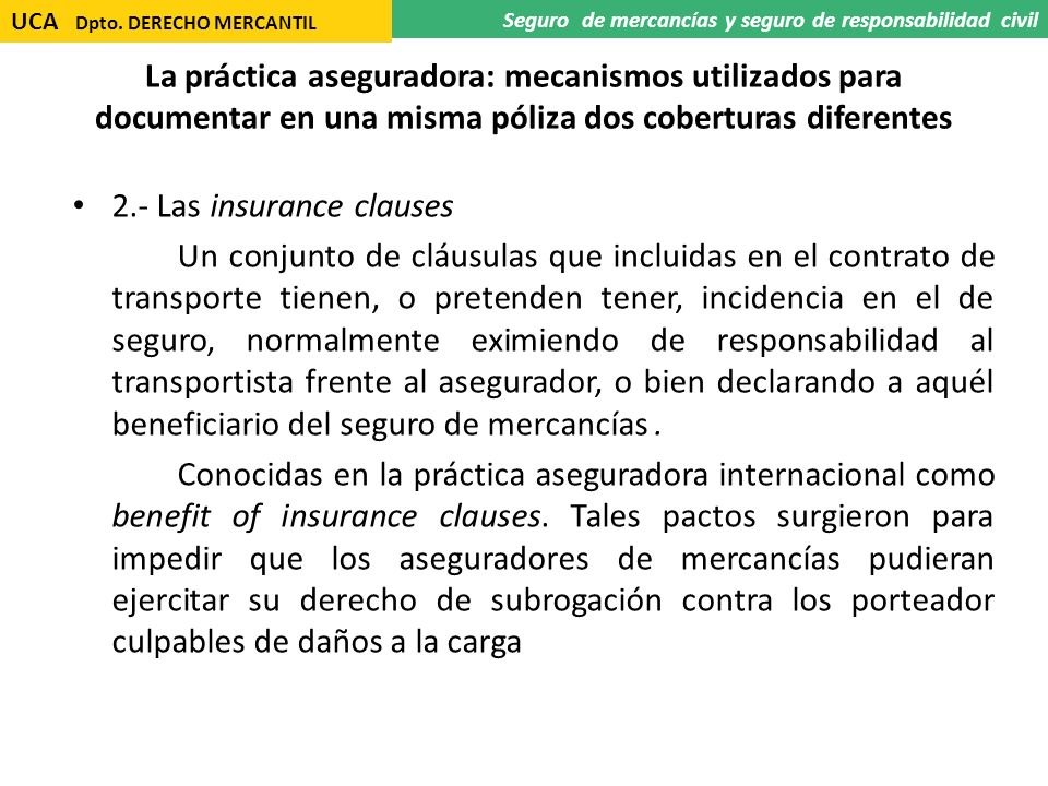 2.- Las insurance clauses