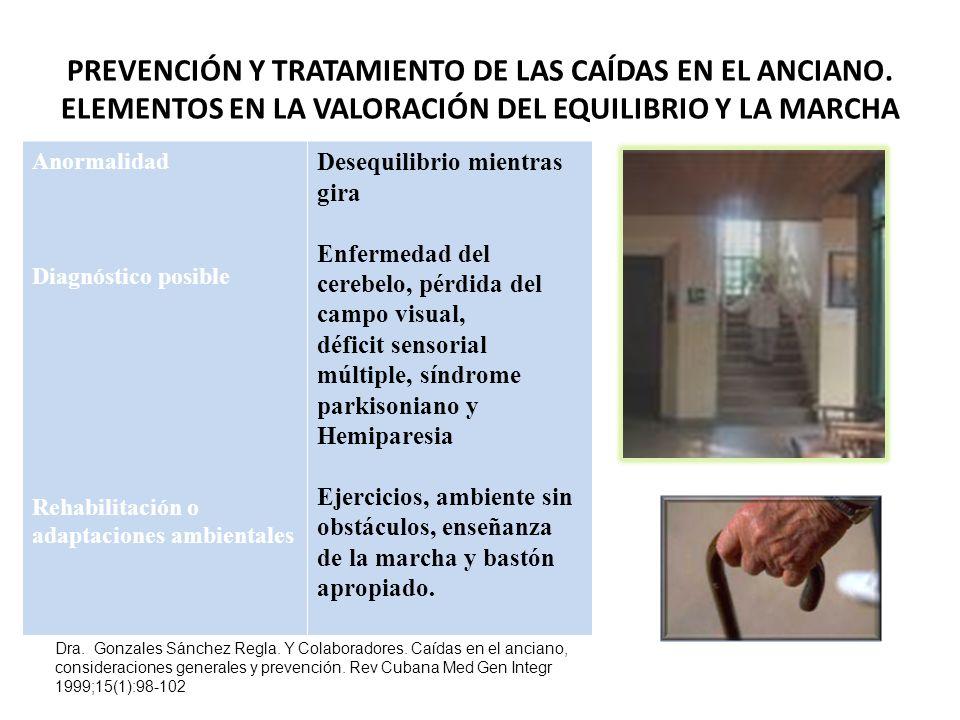 PREVENCIÓN Y TRATAMIENTO DE LAS CAÍDAS EN EL ANCIANO