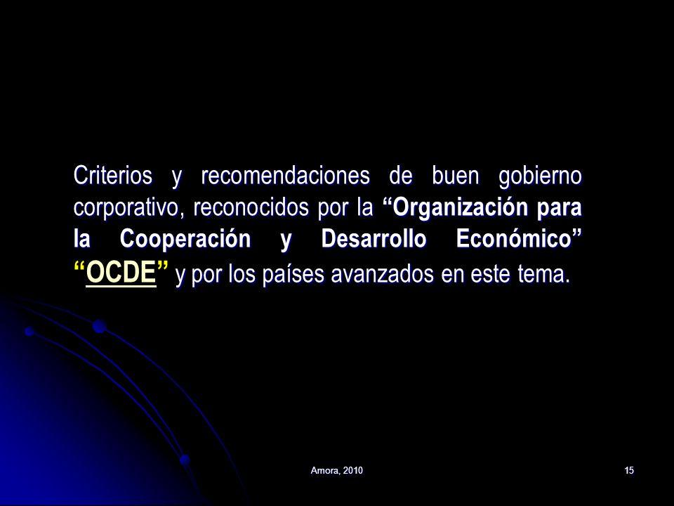 Criterios y recomendaciones de buen gobierno corporativo, reconocidos por la Organización para la Cooperación y Desarrollo Económico OCDE y por los países avanzados en este tema.