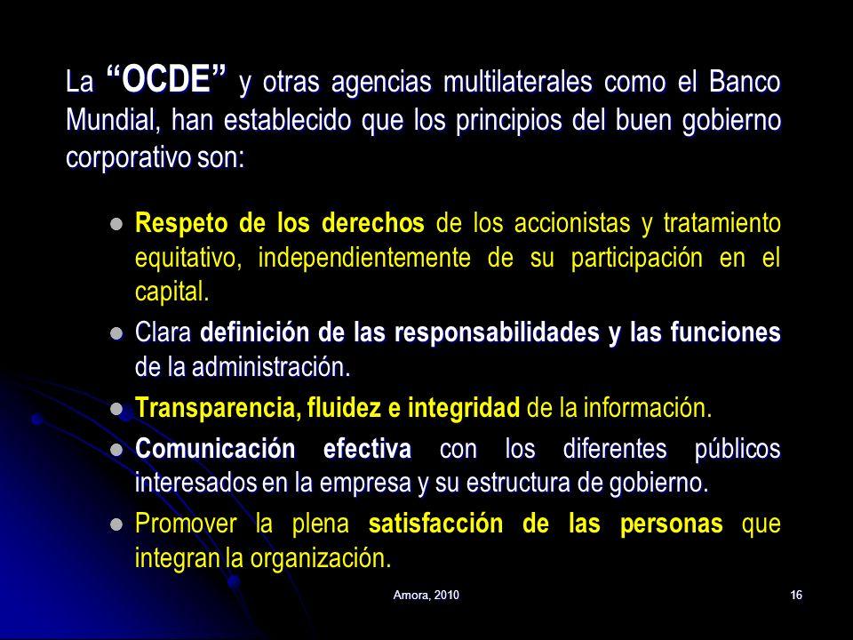 La OCDE y otras agencias multilaterales como el Banco Mundial, han establecido que los principios del buen gobierno corporativo son: