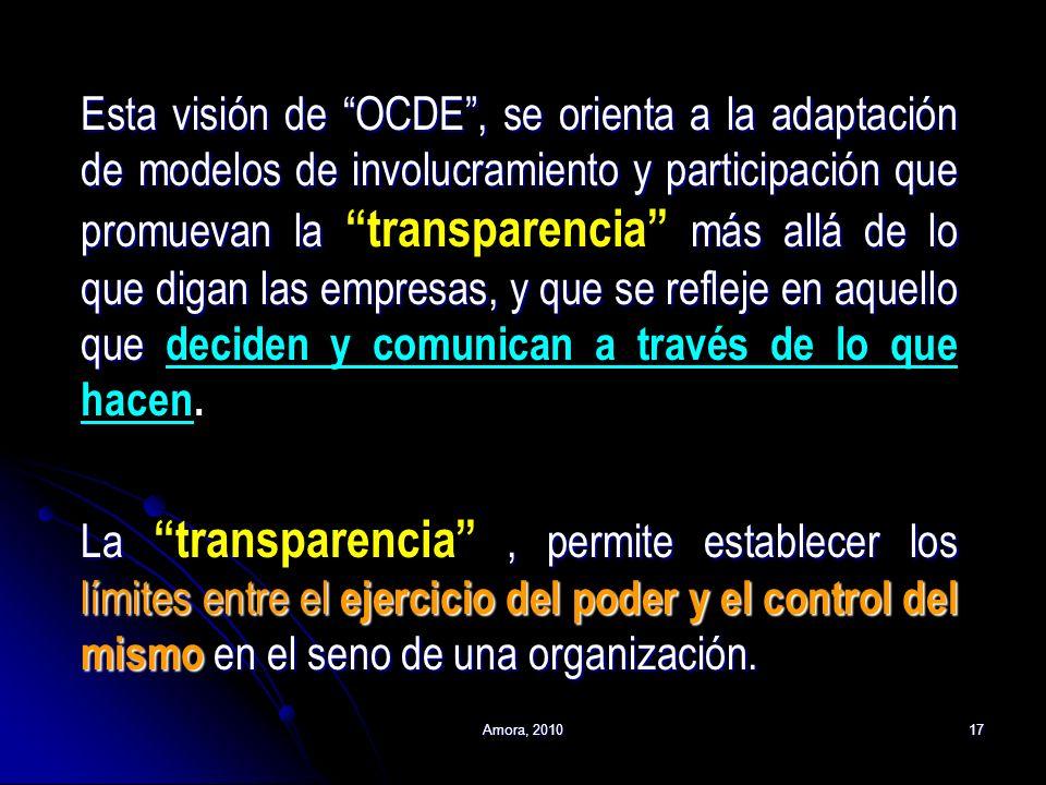 Esta visión de OCDE , se orienta a la adaptación de modelos de involucramiento y participación que promuevan la transparencia más allá de lo que digan las empresas, y que se refleje en aquello que deciden y comunican a través de lo que hacen. La transparencia , permite establecer los límites entre el ejercicio del poder y el control del mismo en el seno de una organización.