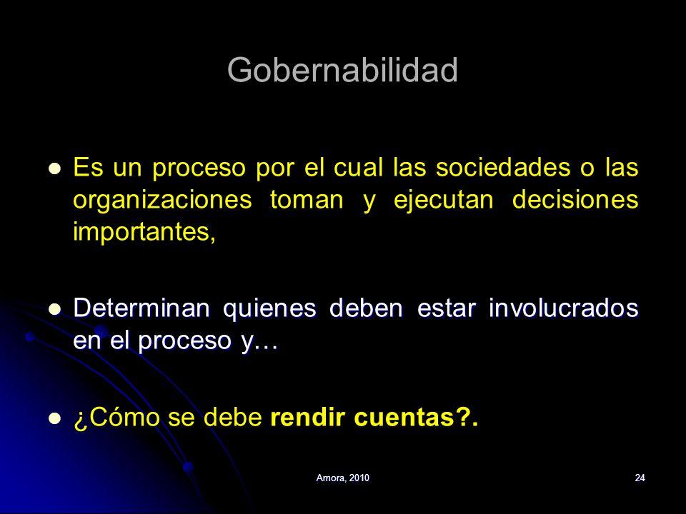 Gobernabilidad Es un proceso por el cual las sociedades o las organizaciones toman y ejecutan decisiones importantes,