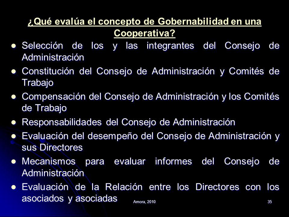 ¿Qué evalúa el concepto de Gobernabilidad en una Cooperativa