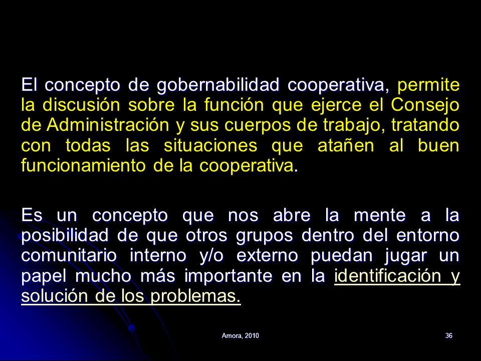 El concepto de gobernabilidad cooperativa, permite la discusión sobre la función que ejerce el Consejo de Administración y sus cuerpos de trabajo, tratando con todas las situaciones que atañen al buen funcionamiento de la cooperativa.