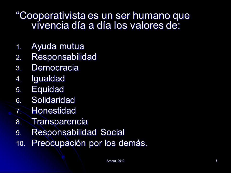Cooperativista es un ser humano que vivencia día a día los valores de: