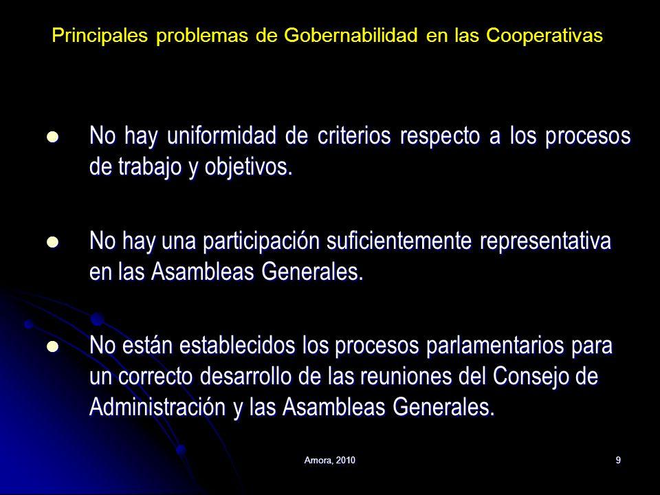 Principales problemas de Gobernabilidad en las Cooperativas