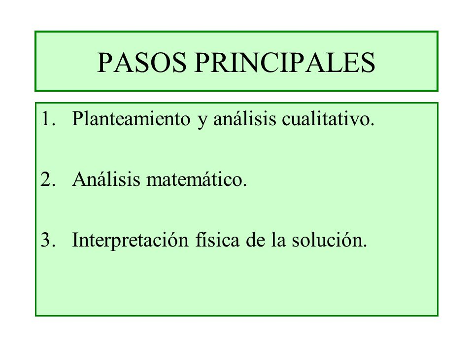 PASOS PRINCIPALES Planteamiento y análisis cualitativo.