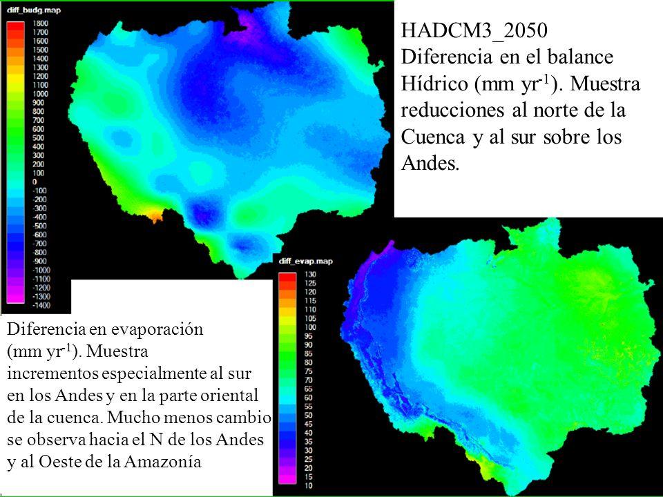 Diferencia en el balance Hídrico (mm yr-1). Muestra
