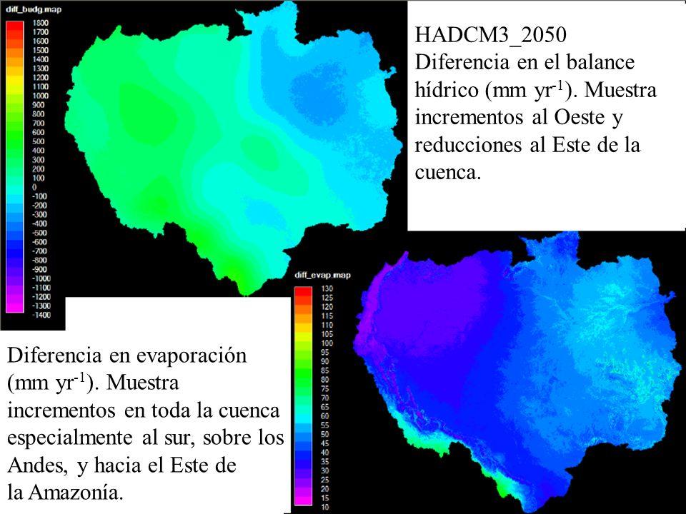 HADCM3_2050 Diferencia en el balance. hídrico (mm yr-1). Muestra. incrementos al Oeste y. reducciones al Este de la.