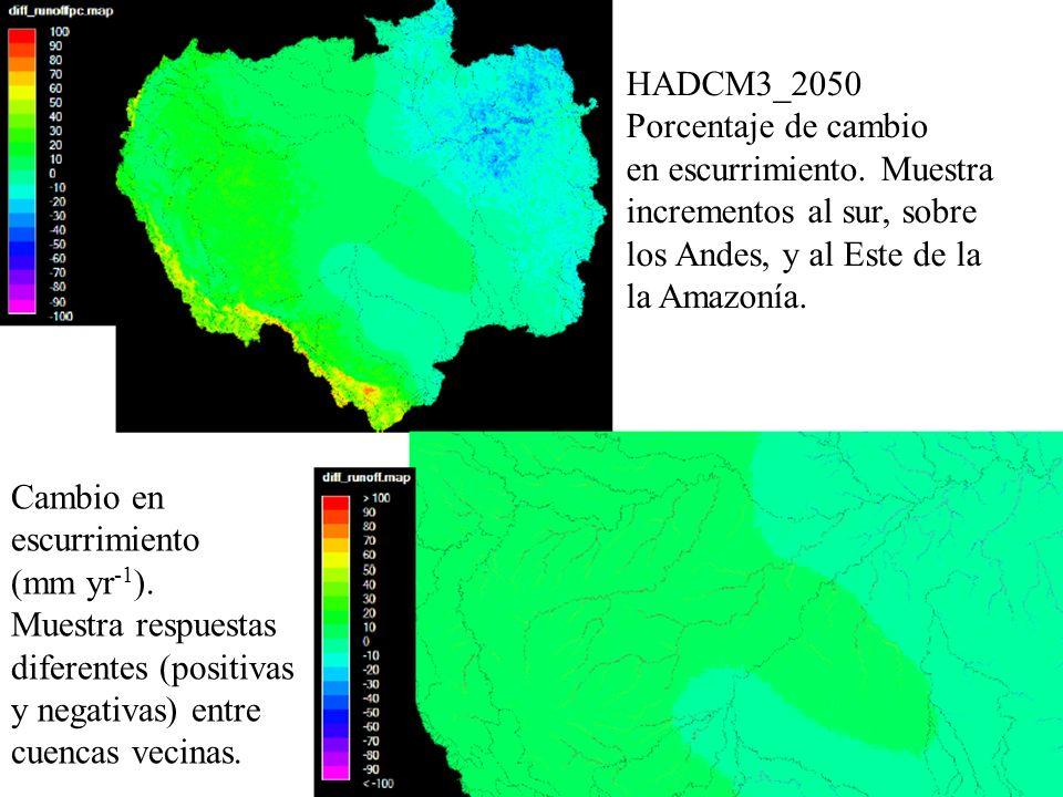 HADCM3_2050 Porcentaje de cambio. en escurrimiento. Muestra. incrementos al sur, sobre. los Andes, y al Este de la.