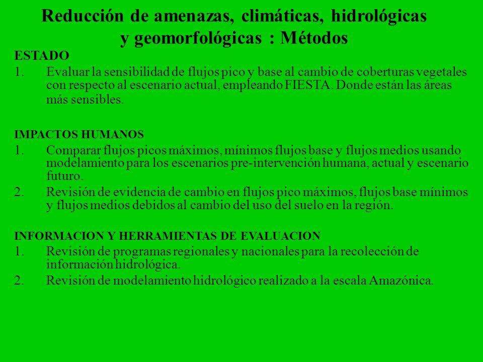Reducción de amenazas, climáticas, hidrológicas y geomorfológicas : Métodos