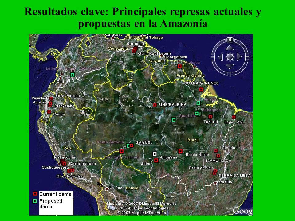 Resultados clave: Principales represas actuales y propuestas en la Amazonía