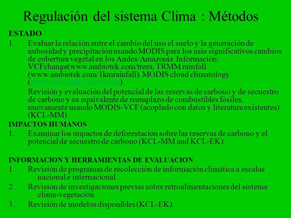 Regulación del sistema Clima : Métodos
