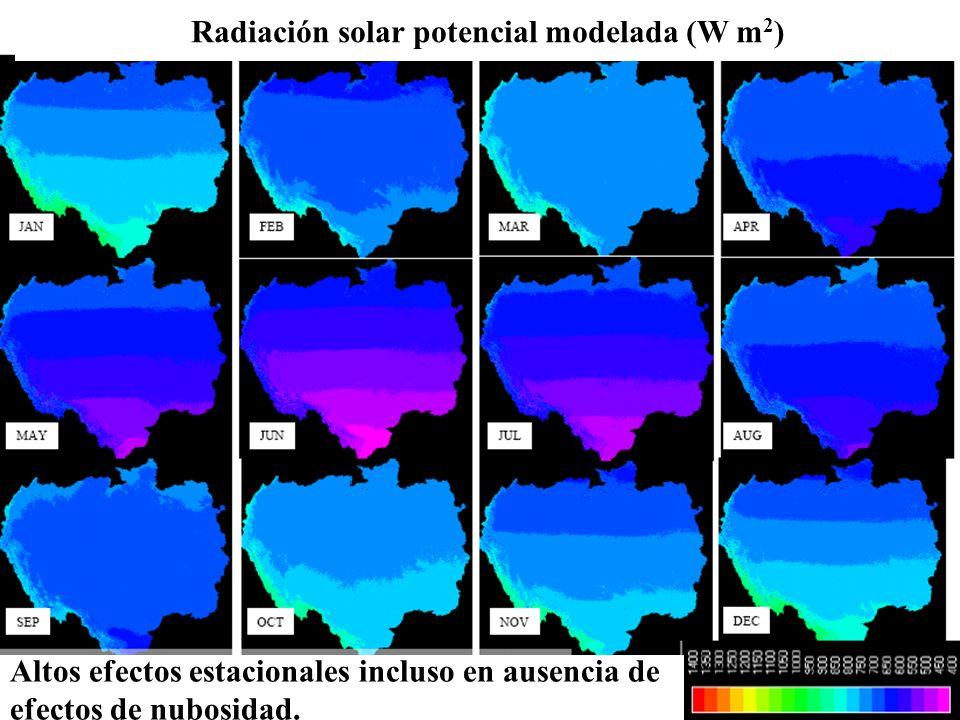 Radiación solar potencial modelada (W m2)