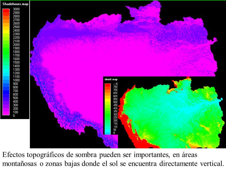 Efectos topográficos de sombra pueden ser importantes, en áreas