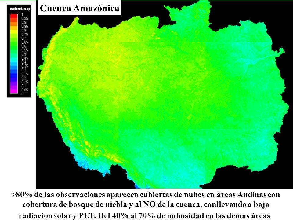 cobertura de bosque de niebla y al NO de la cuenca, conllevando a baja