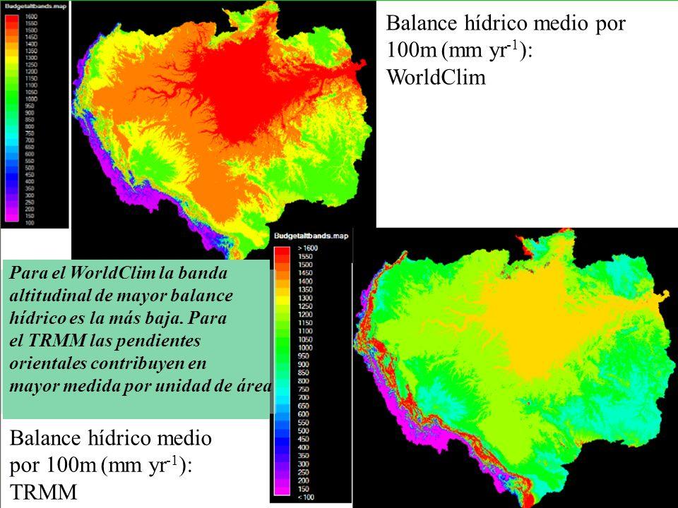 Balance hídrico medio por 100m (mm yr-1): WorldClim