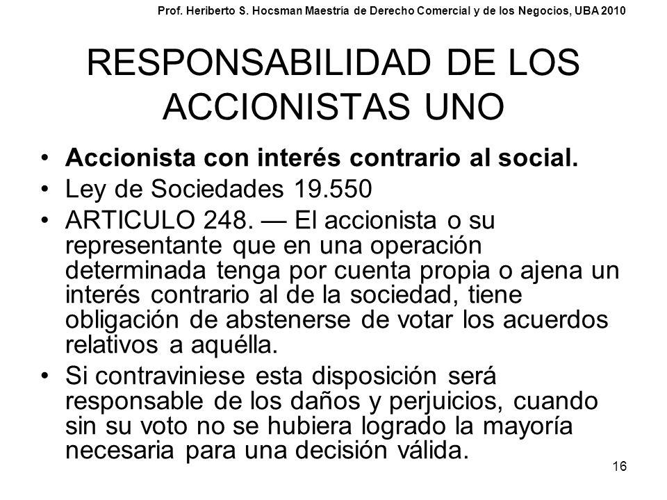 RESPONSABILIDAD DE LOS ACCIONISTAS UNO