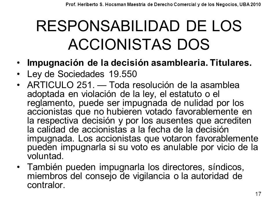 RESPONSABILIDAD DE LOS ACCIONISTAS DOS