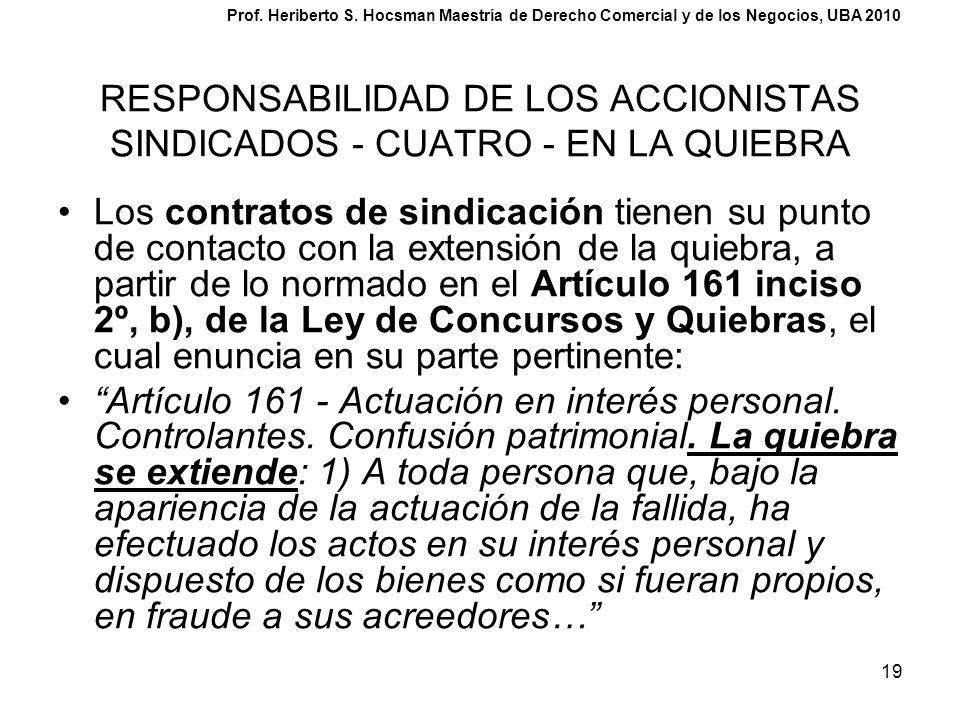 RESPONSABILIDAD DE LOS ACCIONISTAS SINDICADOS - CUATRO - EN LA QUIEBRA