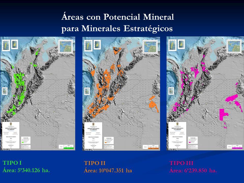 Áreas con Potencial Mineral para Minerales Estratégicos