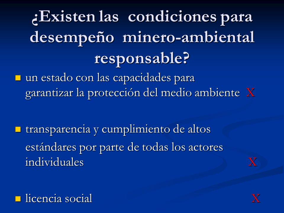 ¿Existen las condiciones para desempeño minero-ambiental responsable