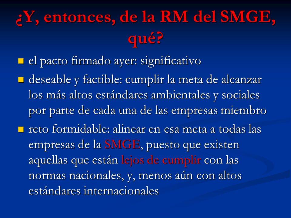 ¿Y, entonces, de la RM del SMGE, qué