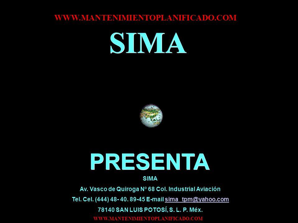 SIMA PRESENTA WWW.MANTENIMIENTOPLANIFICADO.COM SIMA