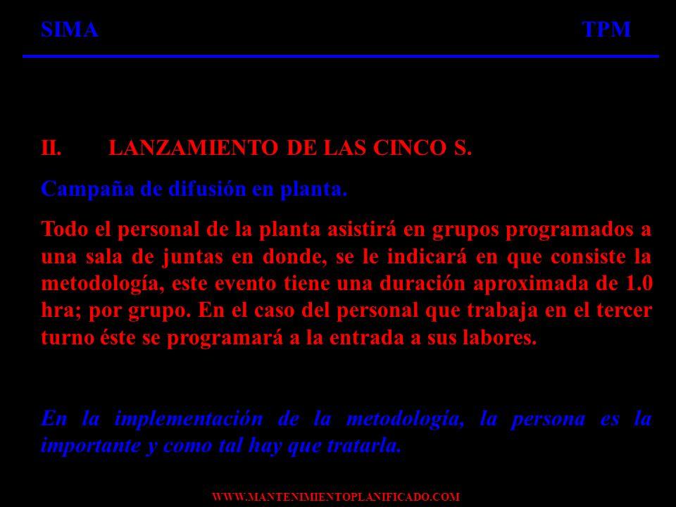 SIMA TPM II. LANZAMIENTO DE LAS CINCO S. Campaña de difusión en planta.