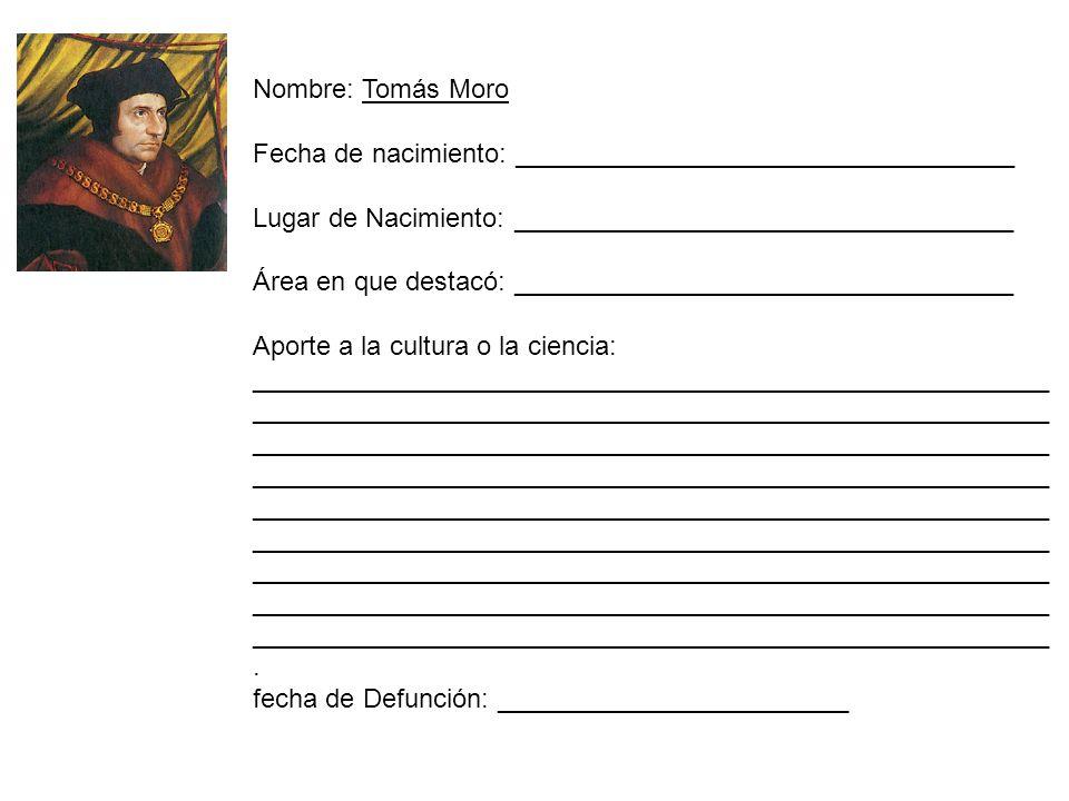Nombre: Tomás Moro Fecha de nacimiento: __________________________________. Lugar de Nacimiento: __________________________________.