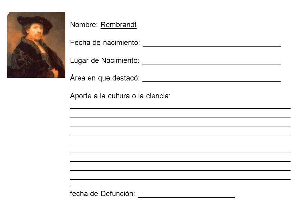 Nombre: Rembrandt Fecha de nacimiento: __________________________________. Lugar de Nacimiento: __________________________________.