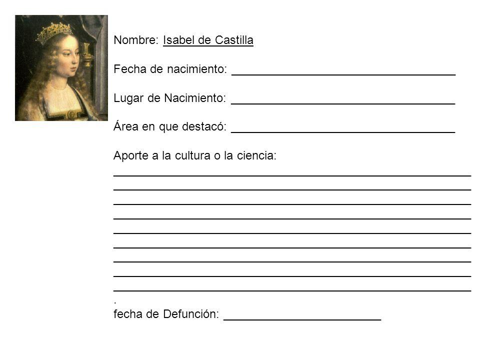 Nombre: Isabel de Castilla