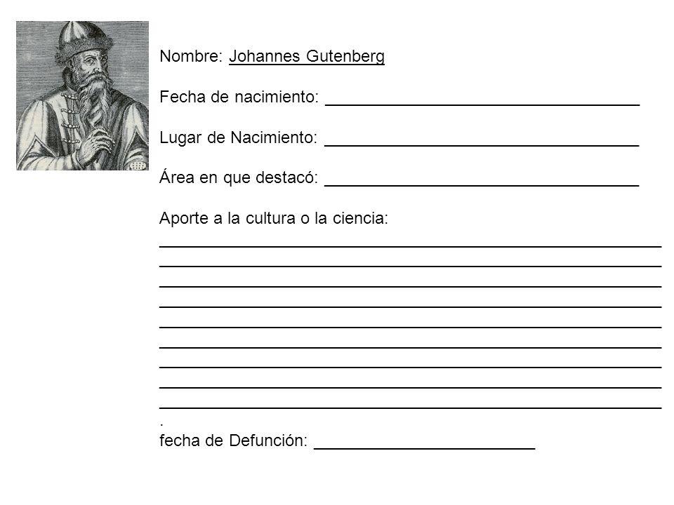Nombre: Johannes Gutenberg