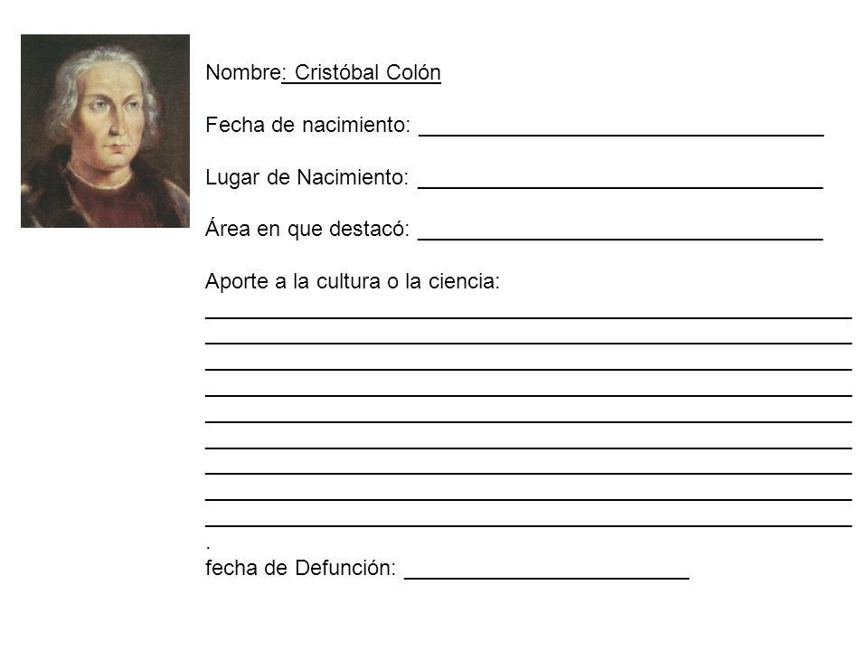 Nombre: Cristóbal Colón