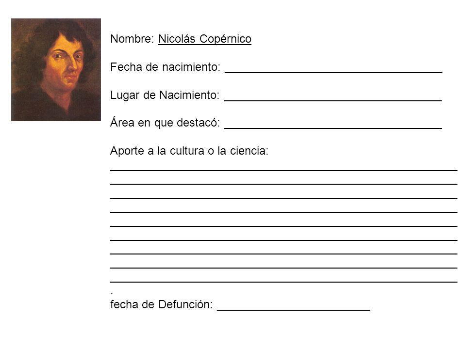 Nombre: Nicolás Copérnico