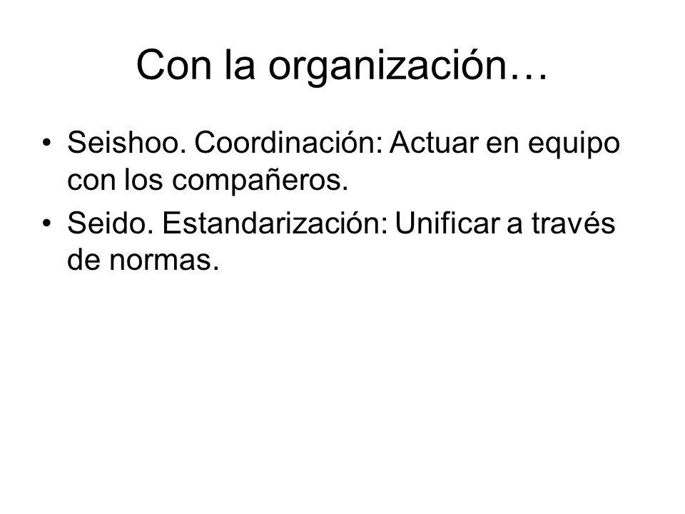 Con la organización… Seishoo. Coordinación: Actuar en equipo con los compañeros.
