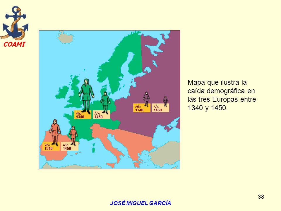 Mapa que ilustra la caída demográfica en las tres Europas entre 1340 y 1450.