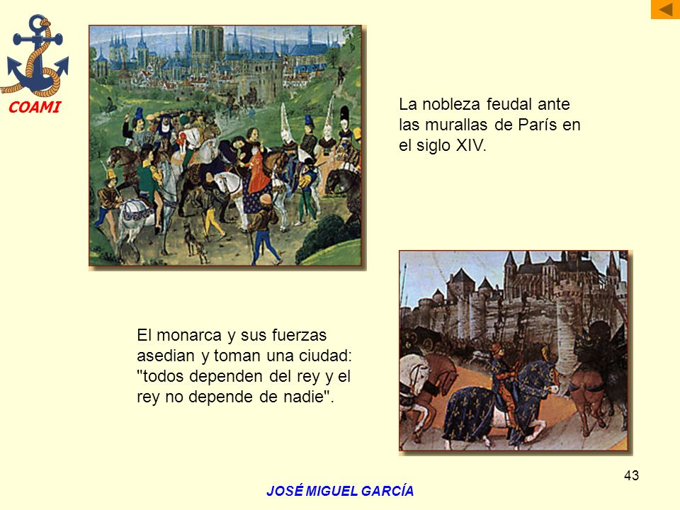 La nobleza feudal ante las murallas de París en el siglo XIV.
