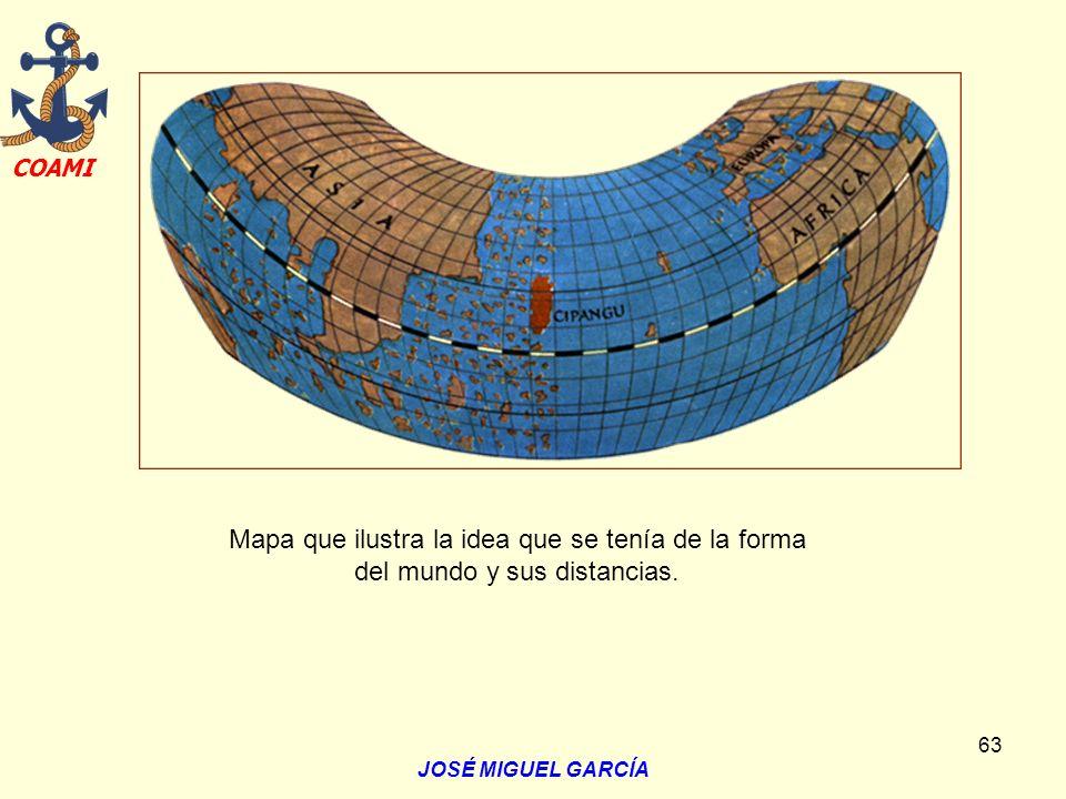 Mapa que ilustra la idea que se tenía de la forma del mundo y sus distancias.