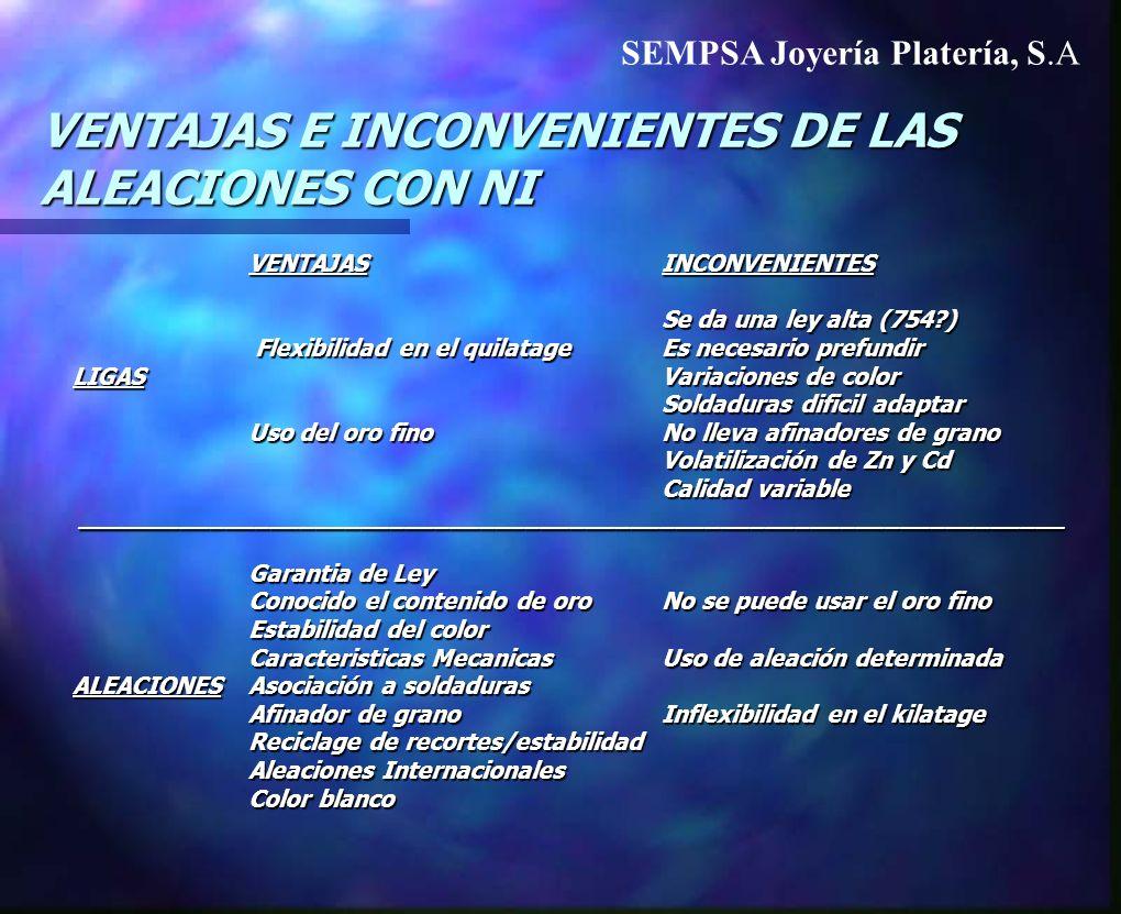 VENTAJAS E INCONVENIENTES DE LAS ALEACIONES CON NI