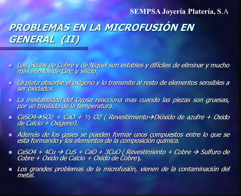 PROBLEMAS EN LA MICROFUSIÓN EN GENERAL (II)