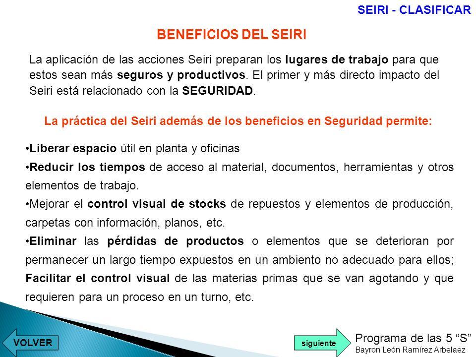 BENEFICIOS DEL SEIRI SEIRI - CLASIFICAR